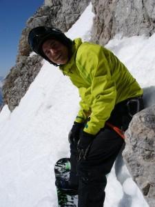 Benni nach der Kletterpassage. Hier sieht man die tatsächliche Steilheit