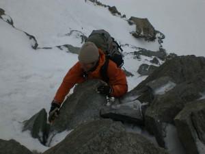 Firn und Felskletterei am Gipfelaufbau