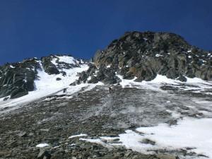 Schnee-Eisflanke vor dem Glocknerleitl