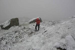 Schneefall beim Zustieg