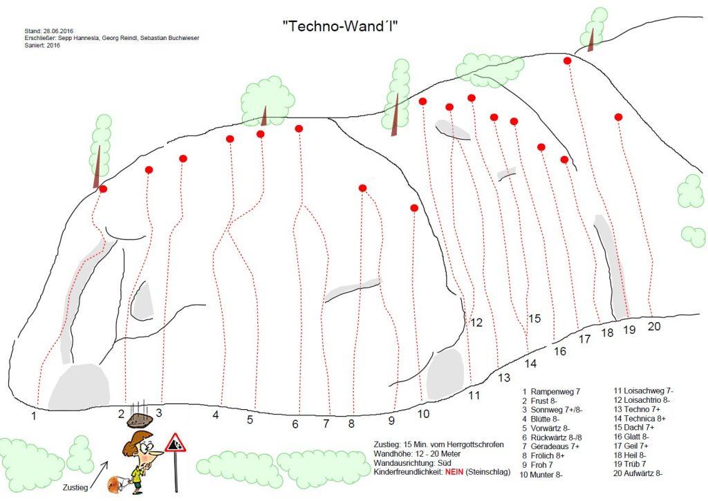 Topo der Techno Wand bei Garmisch