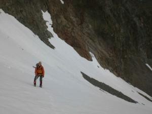 der untere steile Teil der Aufstiegsroute