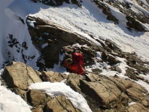 einfache Kletterei am Grat der inneren Quellspitze