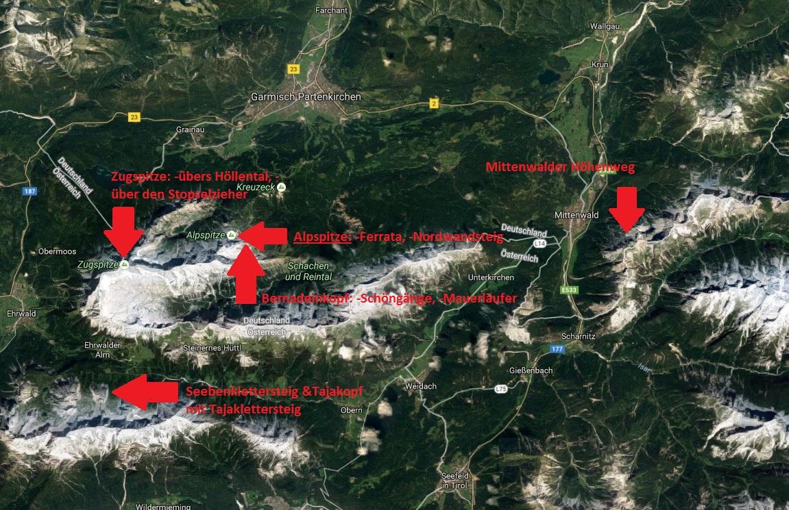 Klettersteigset Leihen Garmisch : Klettersteige um garmisch partenkirchen u2013 eine kurze Übersicht