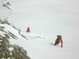 kurze Steilpassage im besten Firn