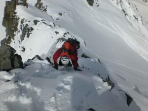 leichte Kletterei beim Abstieg